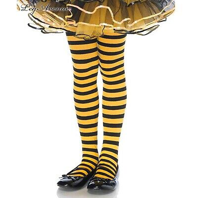 Black & Yellow Stripe Girls Tights Child Funky Kids Witch Bee