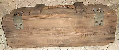 Vintage Antique Military Ammo Wood Ammunition Box 57MM RIFLE COMP.B FOR CANNON &