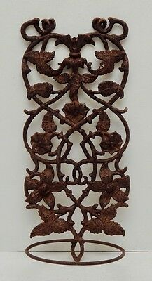 Antique Cast Iron Hanging Flower Pot Holder Floral Victorian French Garden Leaf