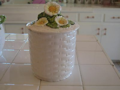 Vintage Lefton Yellow Rustic Daisy Basket Weave Ceramic Small Canister