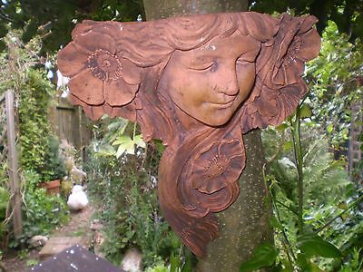 architectural Garden,Vintage French Terracotta Lady Ivy Wall Planter,Reclaim