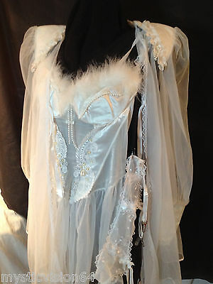 WHITE LACE BEADED NIGHTIE w/FEATHER TRIM & SHEER ROBE FREDERICK'S OF HOLLYWOOD