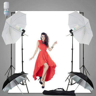 Photography Video Umbrella Shooting Light Stand 3x3.6m White Muslin Backdrop Kit