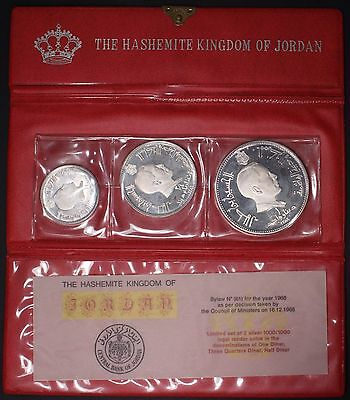 JORDAN  Silver Proof set, 3 Coins in original case, 1/2 ,3/4 and 1 Dinar