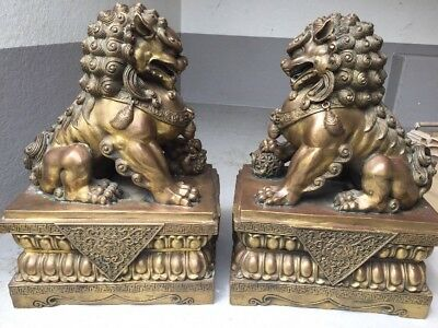 A Pair Of Large Chinese Dog Foo Bronze Statue