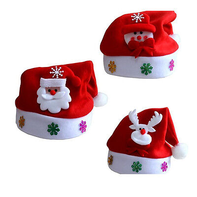 Kid Cheer Christmas Hat Children Santa Claus Reindeer Snowman Xmas Party Red Cap