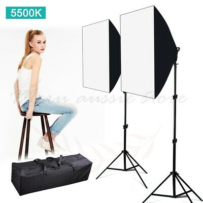 2x45W Photo Studio LED Dimmable Softbox Lighting Video Soft Box Light Stand Kit