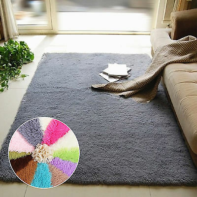 1pc Fluffy Rugs Anti-Skid Shaggy Area Dining Room Home Bedroom Carpet Floor Mat
