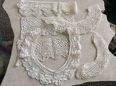 7 Vintage Dolls Victorian Delicate French LACE Collar & Cuffs