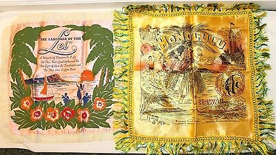 Vintage Silk Pillow Sham Honolulu Hawaii Legend of the Lei Floral Case Lot of 2