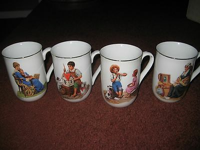 Norman Rockwell Museum Collection 1982 Lot of 4 Coffee Mugs