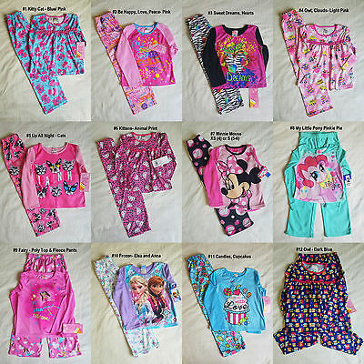 NWT Girls Disney Night Life 2PC Fleece Flannel Sleepwear Pajama Set 4-5 to 10-12