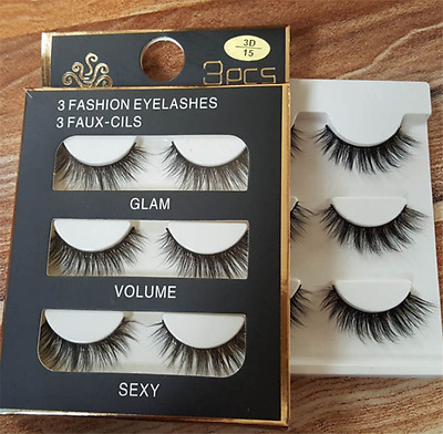 3 Pairs 3D Natural Soft Handmade Make Up Thick Long Cross False Fake Eyelashes