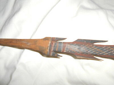 Antique Aboriginal SPEAR carved wood & cross hatch painting&fibre throwing stick
