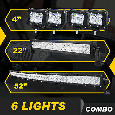 """Curved 52Inch LED Light Bar Combo + 22"""" +4"""" CREE PODS OFFROAD 4WD FORD JEEP 5D+"""