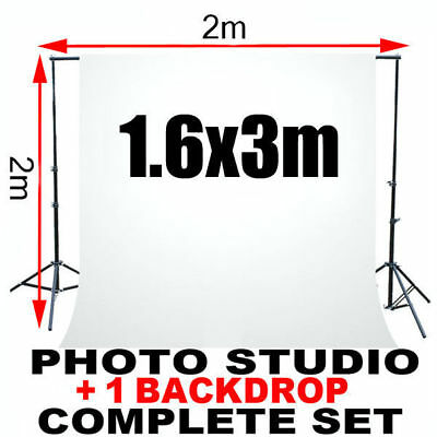 Support de Fond Studio 2x2M Tissu Blanc 1.6x3m Kit d'éclairage Photo Chromakey
