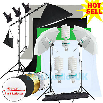 Photography Softbox Continuous lighting Kit Studio 4 Background Stand Reflector