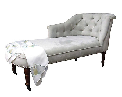 Chaise Longue in a Soft Beige Chenille Fabric NEW