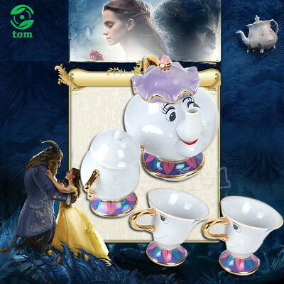 Beauty And The Beast Teapot Cartoon Mug Mrs Potts Chip Tea Pot Cup Set Gift Box