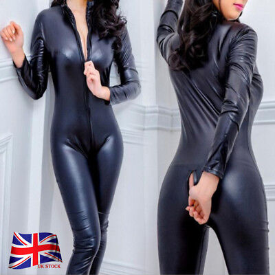 Women Cosplay Leather CATSUIT CLUBWEAR Bodysuit Motor Jumpsuit PVC ROYAL MAIL