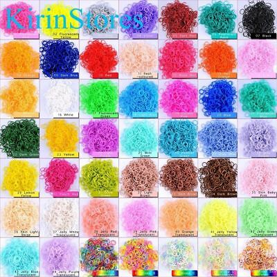 Rainbow Rubber Bands 600 PCs 24 Clip Refills Bands Refill For Loom Bracelet Kits