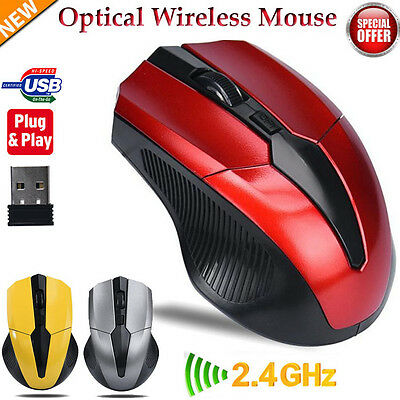 Wireless 2.4GHz Optical Mouse Mice Cordless USB Receiver For Laptop PC Computer