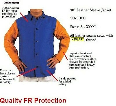 Safety Clothing Fire Retardant Split Cow Leather Welding Clothing Leather Welder Aprons Flame Retardant Cotton Leather Welding Jackets