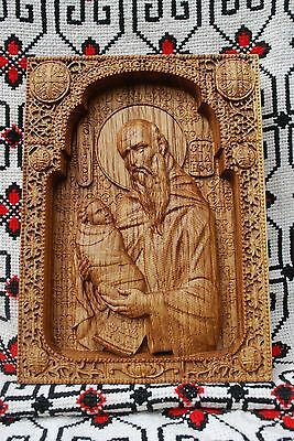 Saint Stylianus Wood Carved Christian Icon Religious Gift Wall Hanging Art Work