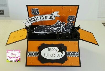 Handmade card, card in a box,Black & orange Motorcycle Father's Day Card,for dad