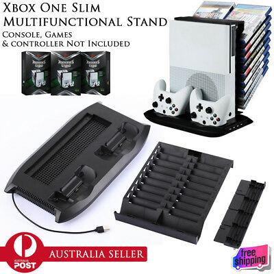 New Multifunction Stand Cooling Fan USB Charger Disc Holder Xbox One S Console