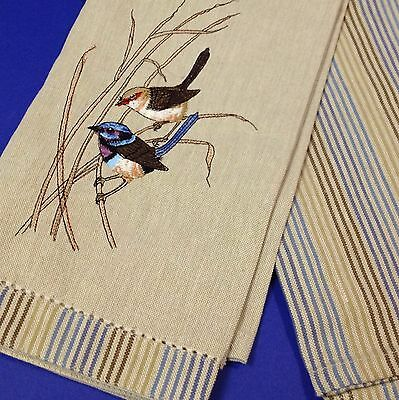 New with Tags - Cotton Tea Towel Set of Two - Embroidered Blue Wrens & Stripes