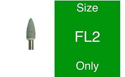 Dental Green Polishing Mounted Stones - Flame FG - FL-2 Green 1 dozen