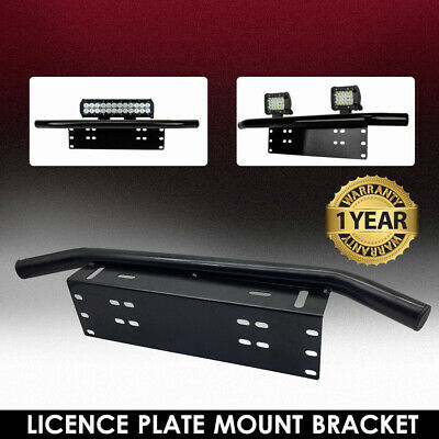 License Number Plate Frame Holder Bull Bar Bumper Mount LED Light Lamp Bracket