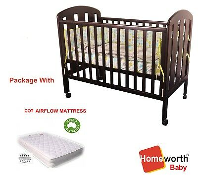 3 in 1 Pioneer COT CRIB BABY Junior BED TIMBER Ends and Walnut Sides Brown