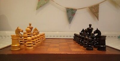 Beautiful Antique French St George Boxwood Turned Chess Pieces with Handmade Box