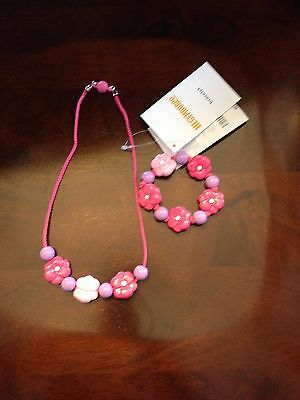 NWT Gymboree Outlet Girls Exclusive Flower Necklace/Bracelet Set OSFM Jewelry