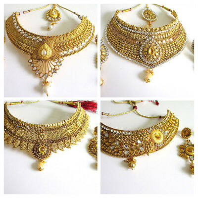 Indian Bollywood Fashion Jewelry Ethnic Gold Plated Bridal Choker Necklace Set