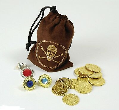 Pirate Money Pouch With Coins Loot Bag & Jewellery Pirates Treasure Fancy Dress