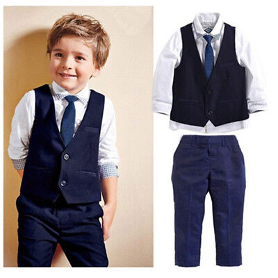 Boys 4 Piece Suit Jacket Waistcoat Trousers Shirt & Tie Age 1-7 Years Formal Top