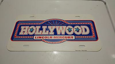 Vintage Hollywood Lincoln Mercury Florida Car Dealer Advertising License Plate