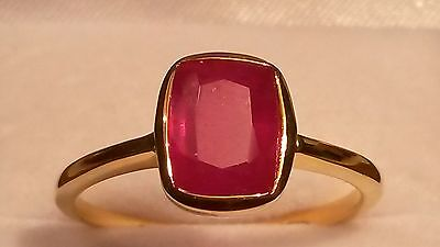 Natural African ruby solitaire ring in 14k gold over 925 size S