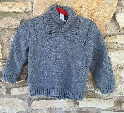 Janie and Jack Yuletide Voyage Gray Wool Cable Knit Sweater Size 2T