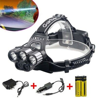 80000Lumens 6 Modes 5x XM-L T6 LED Rechargeable 18650 Headlamp Head Light Torch
