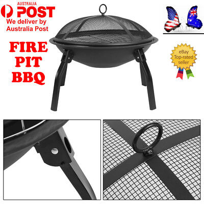 "22"" Portable Outdoor Fire Pit BBQ Camping Garden Patio Heater Fireplace IK"