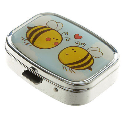 Comical Honey Bumble Bee Metal Pill Box Plastic Lined  Cartoon Queen Bee
