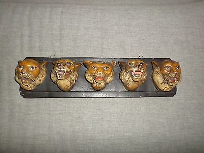 Antique Figural Lion Head Pipe Stand Rack Match Holder Wall Mount VTG Chalkware