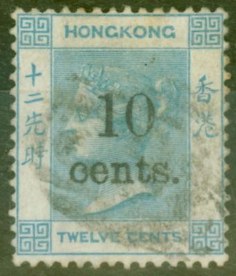 Hong Kong 1880 10c on 12c Pale Blue SG25 Fine Used