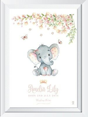 Personalised baby child name LASER  CRYSTAL print safari elephant picture gift