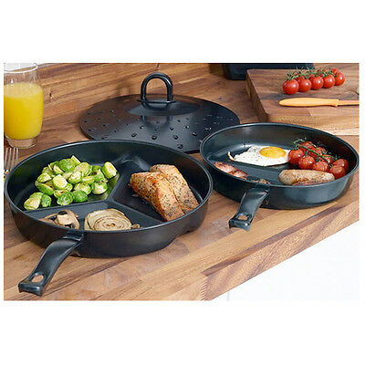 2pc Section Pan Grill Fry & Lid Non Stick Coated Wonder Combo Cooking Kitchen
