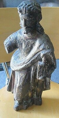 Original Antique Colonial Carved Wood Santo Large Great Piece,image Of Jesus